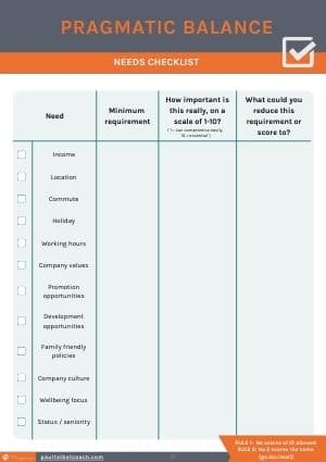 Pragmatic balance checklist to aid with finding the best work-life balance jobs for you